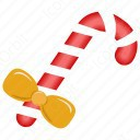 Christmas Candy Cane With Bow icon